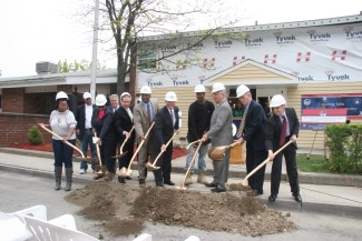 Mike Skrebutenas, the newly appointed Executive Deputy Commissioner of DHCR (far right), joined local officials, housing leaders, and residents in a groundbreaking ceremony for the redevelopment of Ezra Prentice Homes.